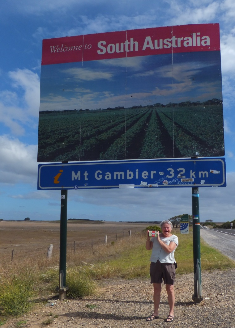 On the border, leaving South Australia entering Victoria, with my treasured Yorkshire Tea