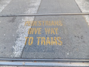 Give way to trams!