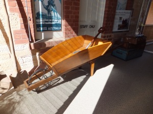 Replica wheelbarrow and shovel made for the Old Ghan centenary