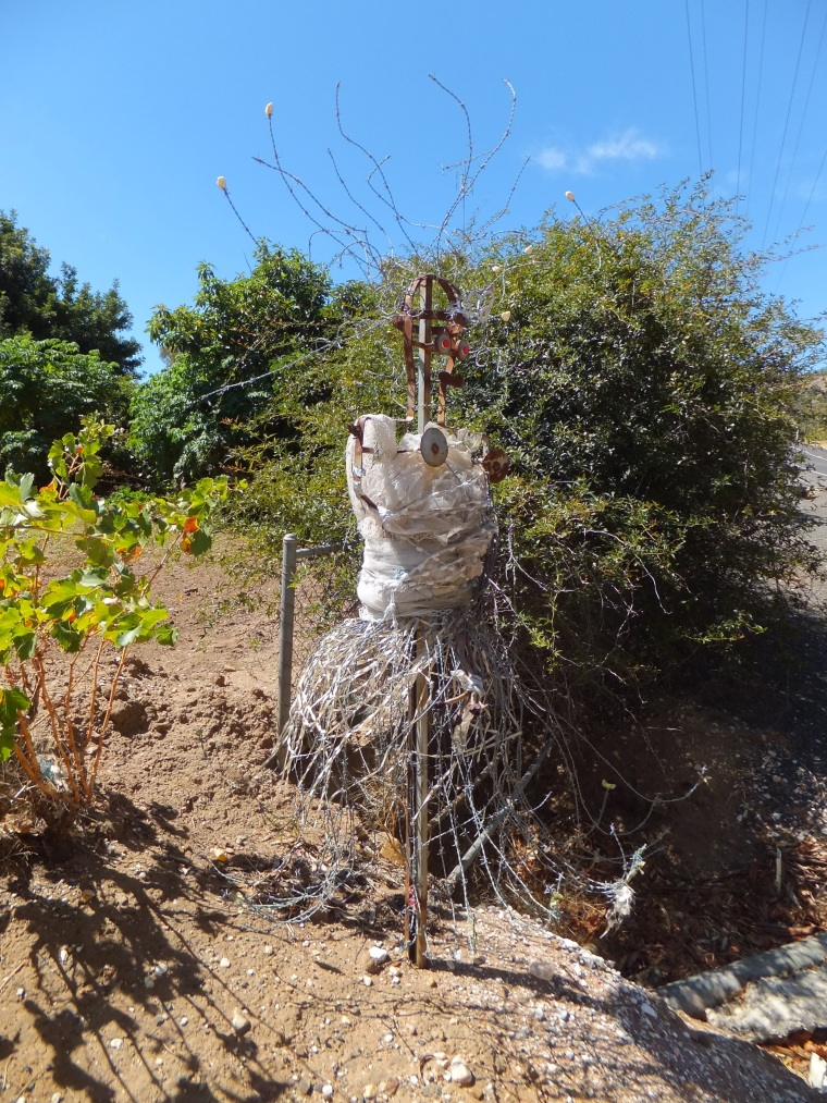 In Bethany a barbed wire scarecrow