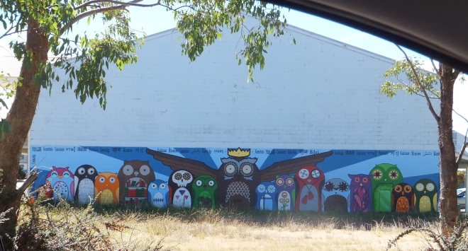 Parliament of Owls mural at Jindabyne