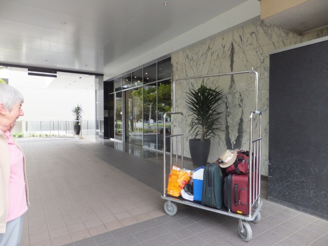 Our luggage on the Canberra Rex Hotel Trolley